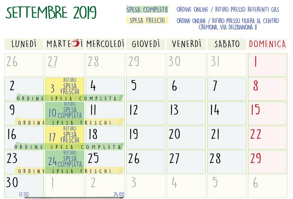 Pagina Di Calendario Settembre 2019.Calendario Ordini E Ritiri Filiera Corta Solidale